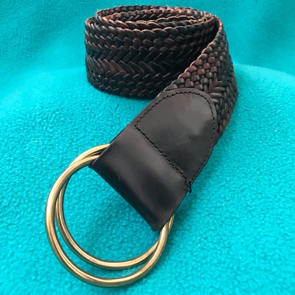 Talbots Accessories - Talbots Woven Leather Belt  w/Double Ring Buckle